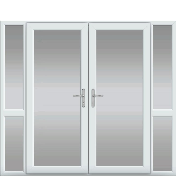 Side Panels with Midrail Glazed, UPVC French Door