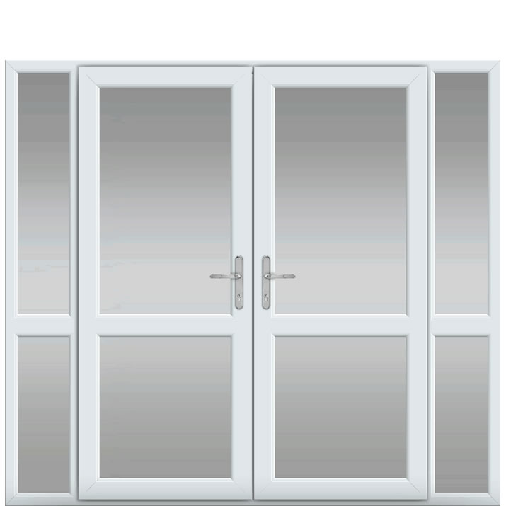 Side Panels with Midrail Glazed, Midrail Glazed, UPVC French Door