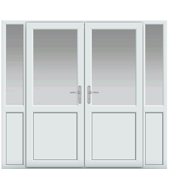 Side Panels with Midrail Panel, Midrail Panel, UPVC French Door