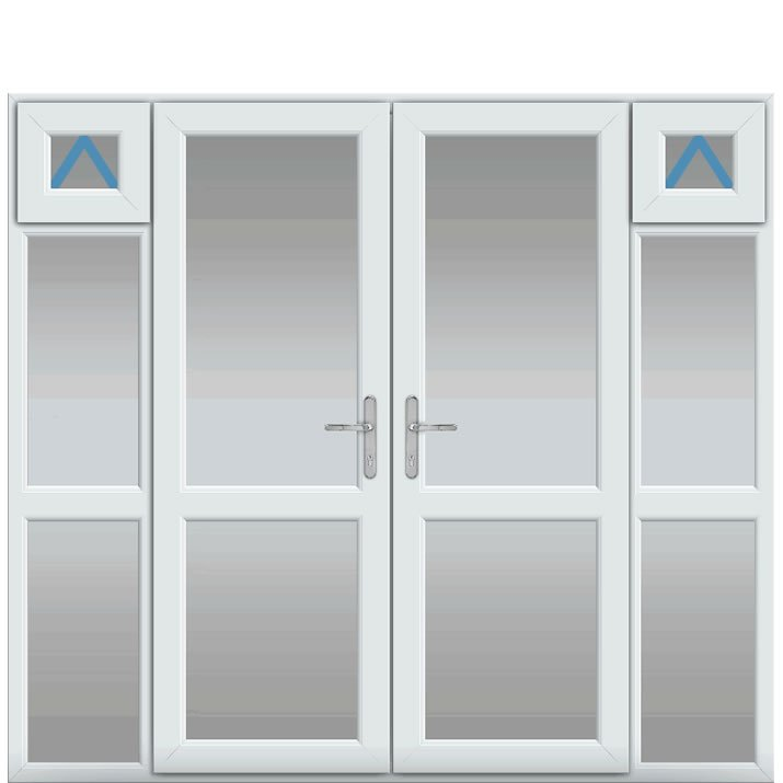 Side Panels with Midrail Glazed Inc Openers, Midrail Glazed, UPVC French Door
