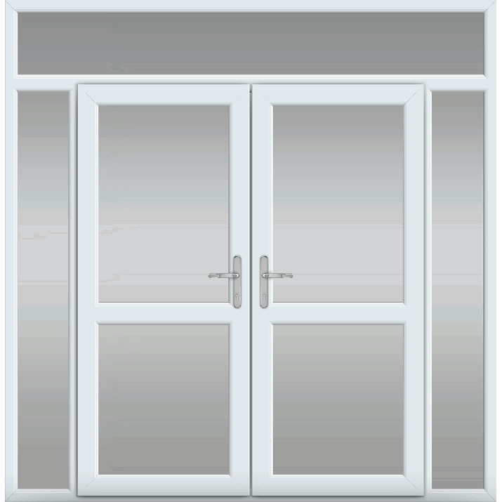 Top Light with Side Panels, Midrail Glazed, UPVC French Door