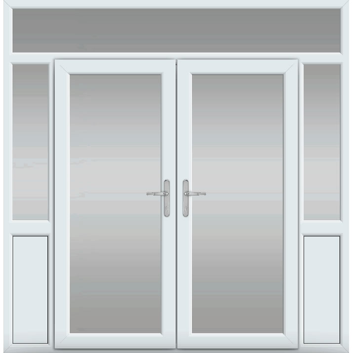 Top Light with Side Panels & Midrail Panel, UPVC French Door