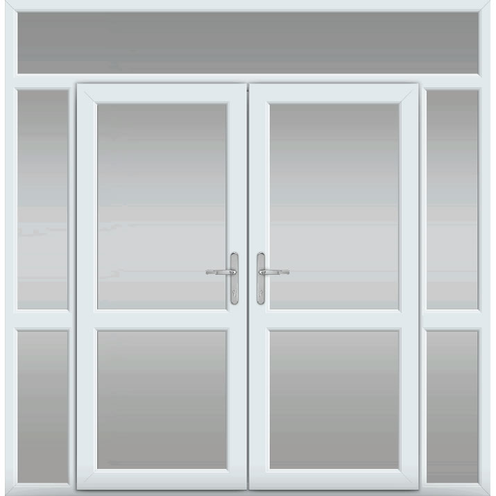 Top Light with Side Panels & Midrail Glazed, Midrail Glazed, UPVC French Door