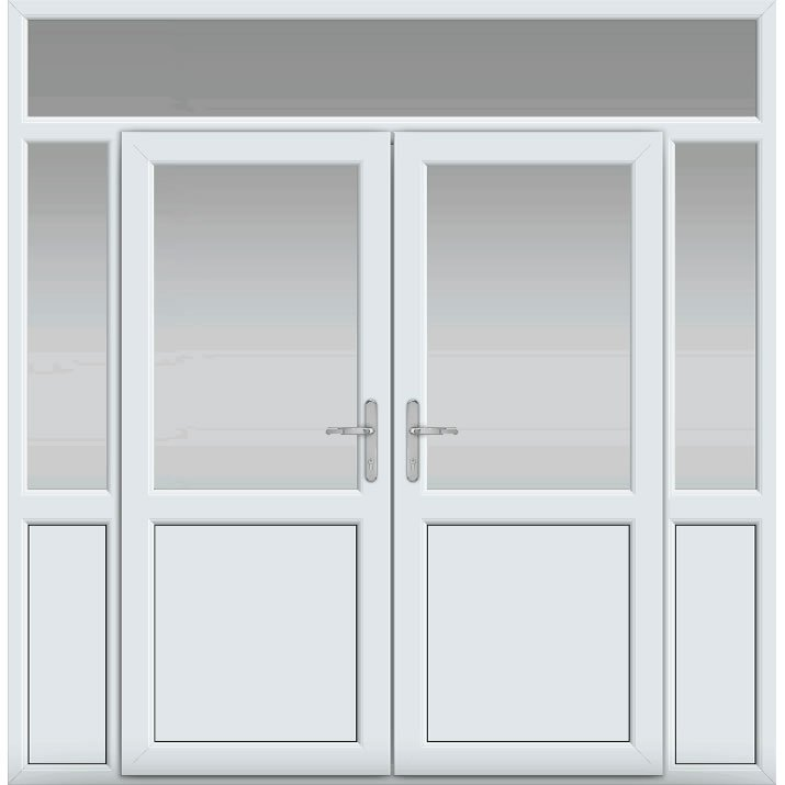 Top Light with Side Panels & Midrail Panel, Midrail Panel, UPVC French Door